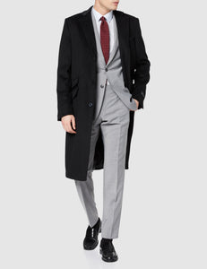 Mens Black Cashmere & Wool Long Overcoat Classic Covert With Black Lining