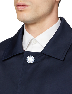 Men's Navy Blue Traditional Single Breasted Long Rain Mac