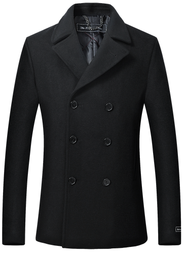 Mens Black Wool & Cashmere Double Breasted Pea Coat
