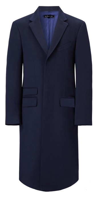 Mens Navy Cashmere & Wool Long Overcoat Classic Covert