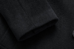 Mens Black Wool & Cashmere Long Classic Overcoat