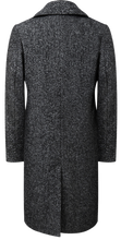 Mens Grey Double Breasted Herringbone Wool Overcoat Long Coat
