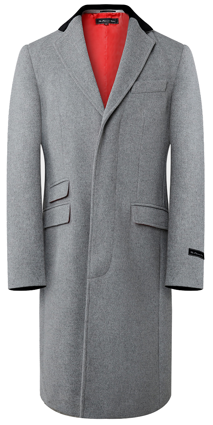 Mens Grey Wool & Cashmere Long Overcoat Classic Covert