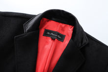 Mens Black Cashmere & Wool Long Overcoat Classic Covert