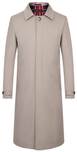 Men's Beige Traditional Single Breasted Long Rain Mac