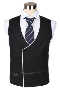 Mens Double Breasted Cotton Linen Waistcoat Piped Edge Shawl Lapel