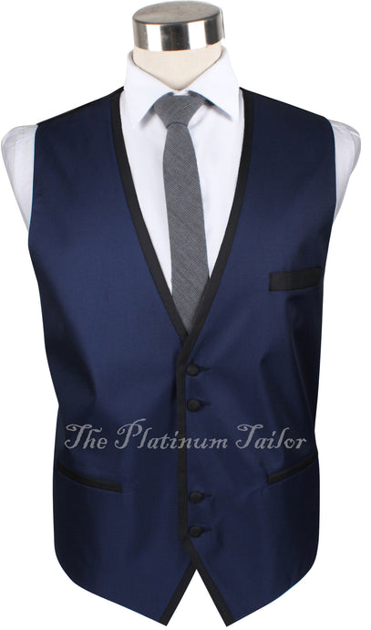 Mens Designer Navy Blue Italian Waistcoat - Contrast Piping 40-48