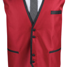 Mens Designer Red Italian Waistcoat With Contrast Piping  40-48