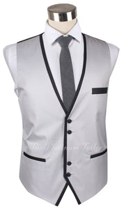 Mens Designer Silver Italian Waistcoat With Contrast Piping 40-48