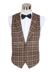 Mens Designer Wool Tartan Camel Brown Check Waistcoat