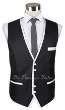 Mens Designer Black Italian Waistcoat - Contrast Piping 40-48