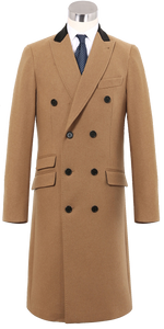 Mens Camel Double Breasted Long Overcoat Cashmere & Wool