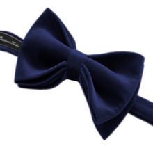 Mens Navy Blue Formal Velvet Bow Tie Pre Tied