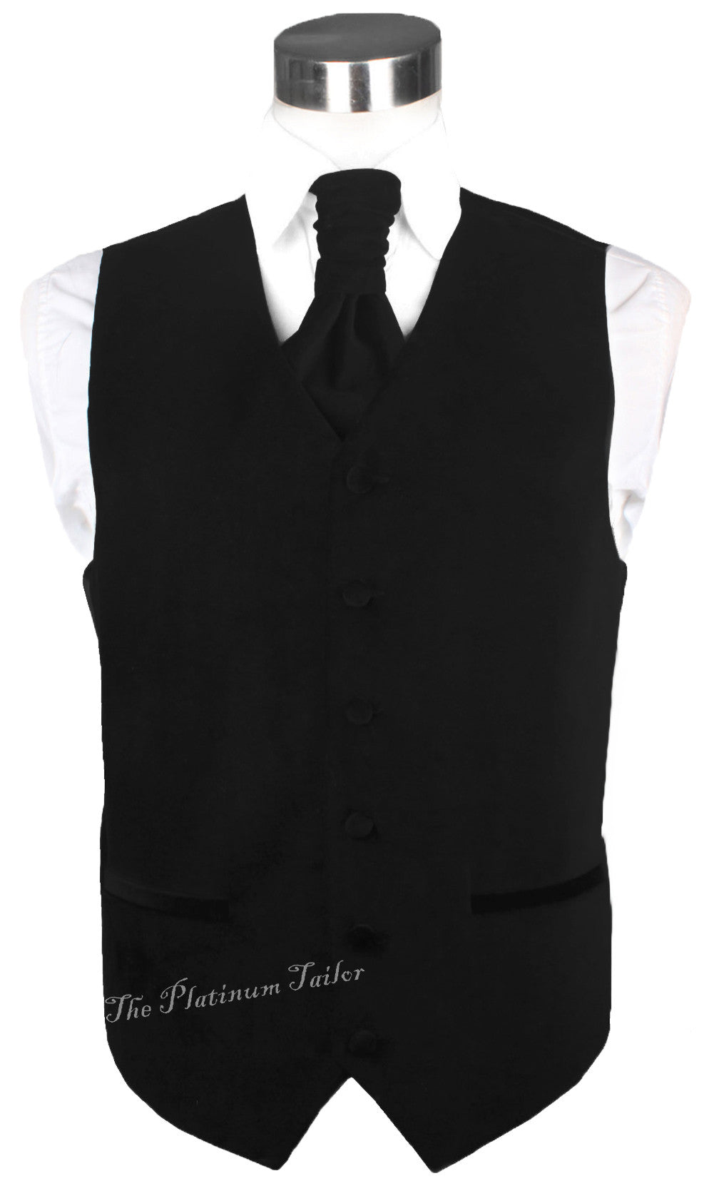 Mens Classic Black Velvet Waistcoat With Ascot Tie