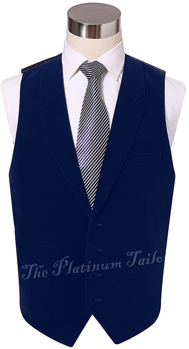 Mens Navy Blue Designer Velvet Waistcoat With Lapel, Ticket Pocket
