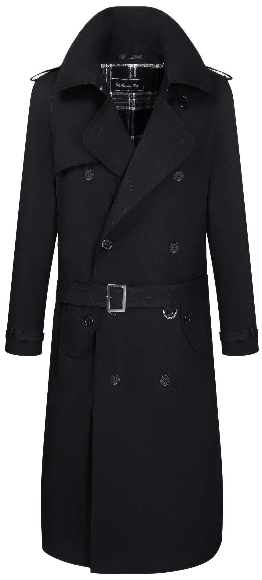 Mens Black Traditional Double Breasted Cotton Long Trench