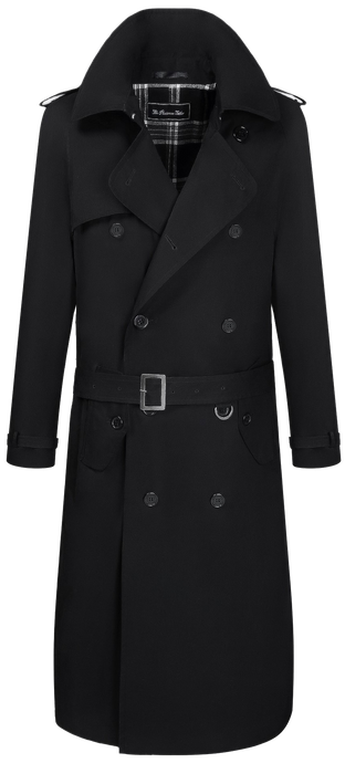 Mens Black Traditional Double Breasted Long Trench Coat Mac