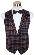 Mens Designer Wool Tartan Navy Blue Copper Waistcoat