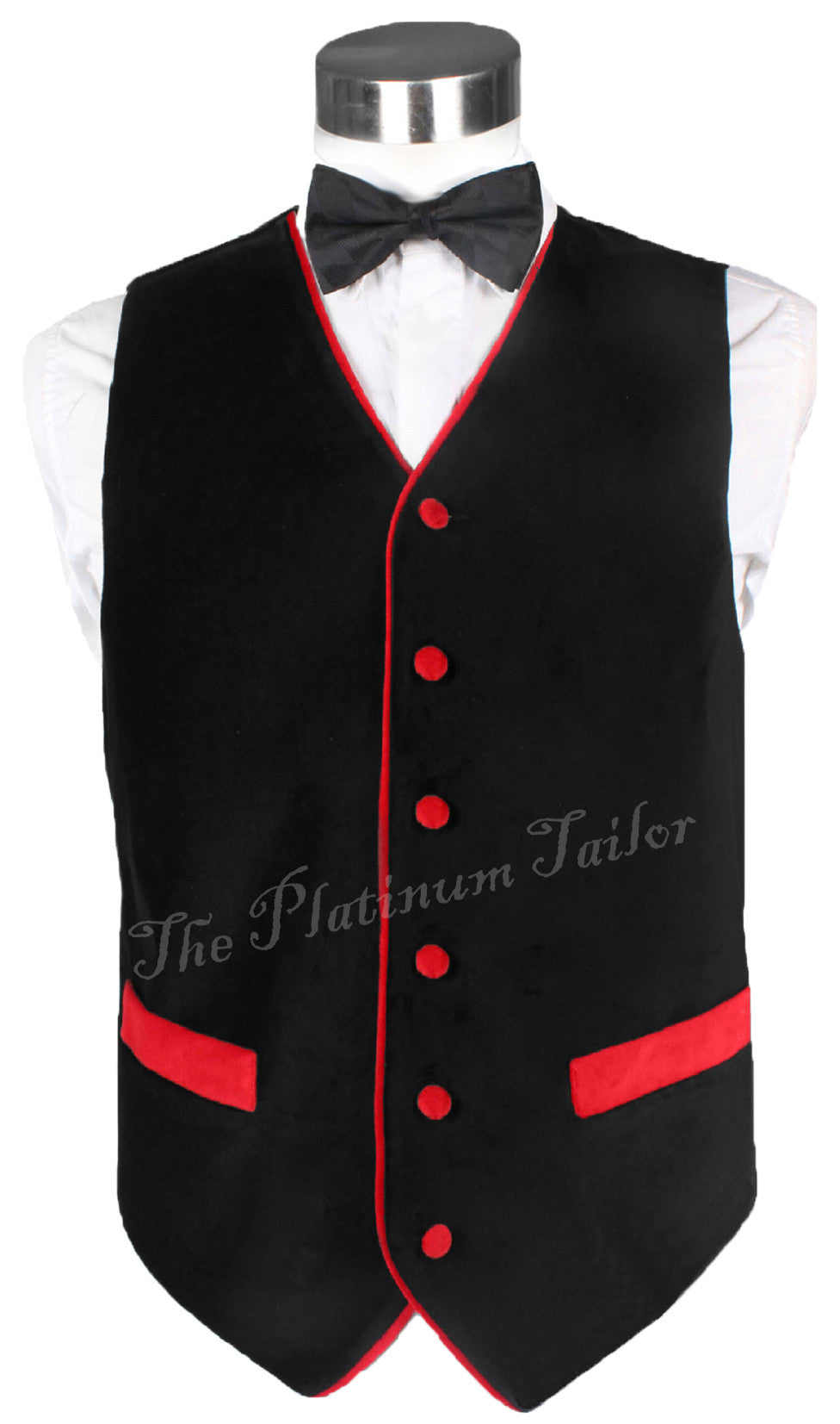 Mens Designer Black Velvet Waistcoat - Red Piping Victorian Style