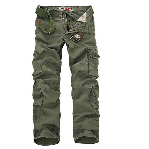 2017 Men Cargo Pants Army Green Multi Pockets Combat Casual Cotton Loose Long Straight Trousers Plus Size 46 Male Easy Wash Pant