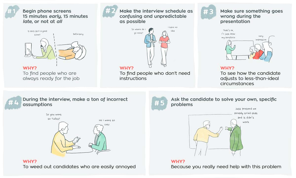 Here Are Google Amazon And Facebooks Secrets To Hiring The Best - Funny illustrations show how job interviews would go at famous companies