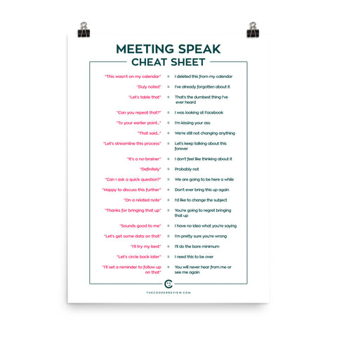 Meeting Speak Cheat Sheet Poster