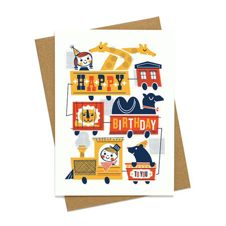 Vintage Birthday Train Card