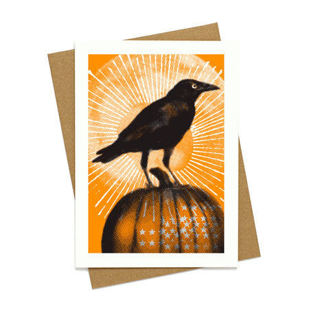 Halloween Crow Greeting Card