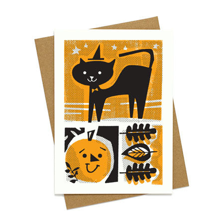 Mid Century Halloween Cat Card
