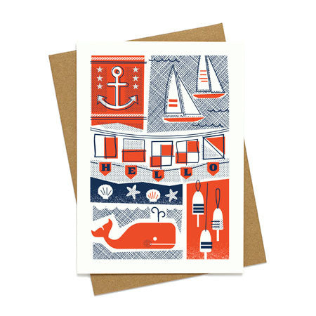 Nautical Whale and Anchor Card