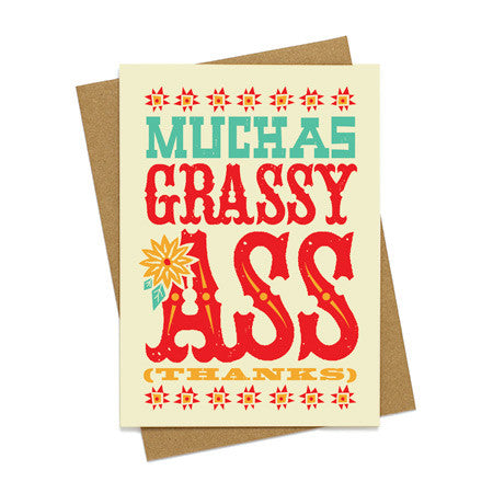 Muchas Grassy Ass Thank You Card