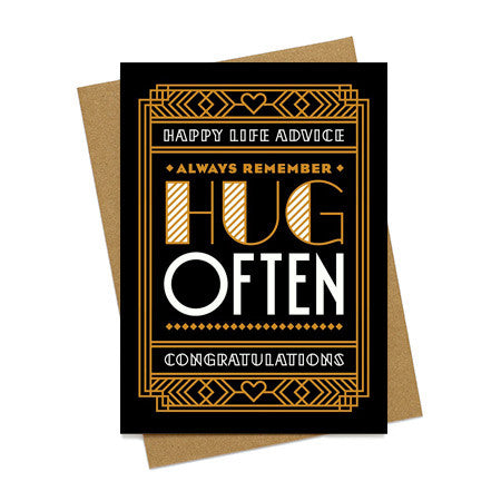 Hug Often Wedding Card