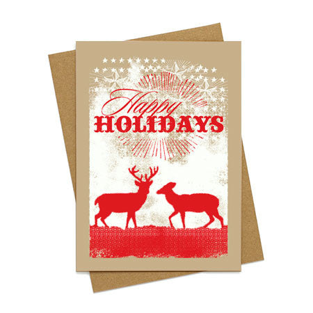 Happy Holidays Deer Card