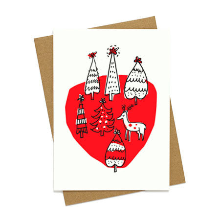 Reindeer in Forest Holiday Card
