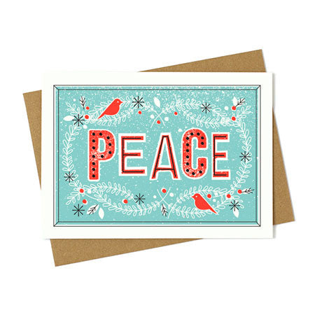 Vintage Peace Wreath Greeting Card