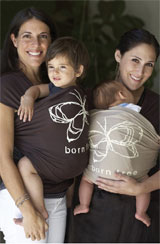 Director Abby Epstein with her son Matteo, and actress Ricki Lace with baby Grant Williams, modeling the 'Born Free' Moby Wrap.