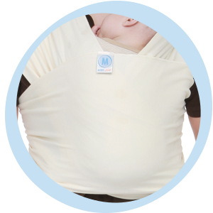 MOBY wrap Safety Check, the logo tag section is securing baby's entire back and shoulders