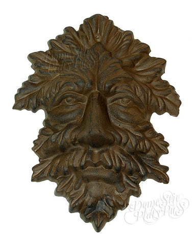 Garden Gods Cast Iron Leaf-Shaped GREEN MAN Plaque - Domestic Platypus