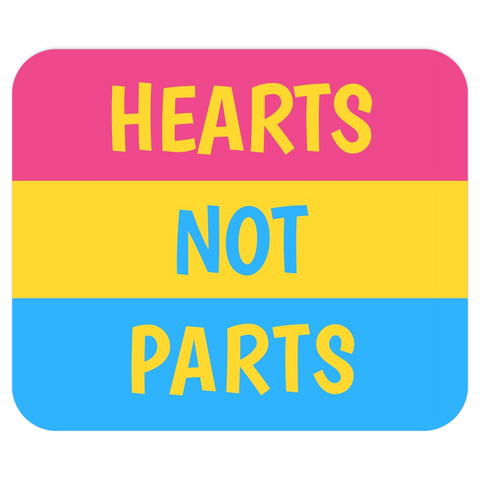Hearts Not Parts Pansexual Pride Mousepad