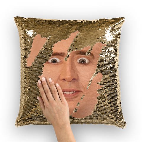 Creepy Cage Face Sequin Cushion Cover