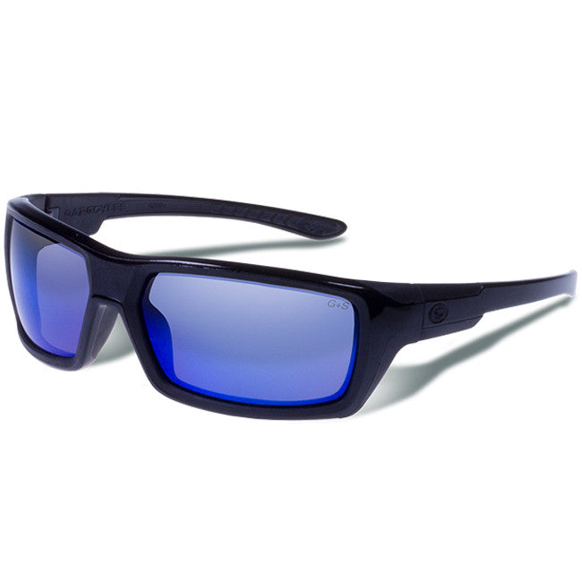 Gargoyles Eyewear KHYBER Sunglasses - Black with Blue Mirrored Lenses - Domestic Platypus
