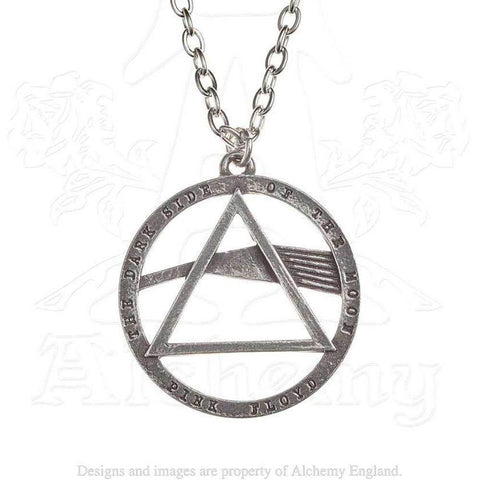 Pink Floyd Dark Side of the Moon Prism Logo Necklace, Alchemy Gothic