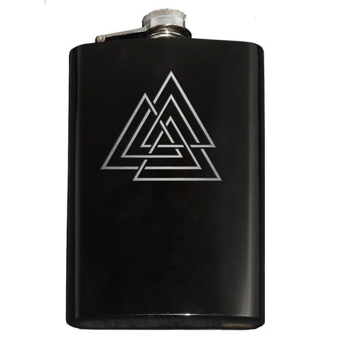 Domestic Platypus-Viking Vaulknut Engraved Hip Flask 8oz Stainless Steel, Many Colors-Flask-[meta description]
