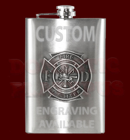 Domestic Platypus-Fire Fighter Emblem Flask, 8oz Stainless Steel, Custom Engraving -Flask-[meta description]