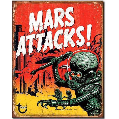 Mars Attacks! Retro Vintage Sci-Fi Poster Metal Sign