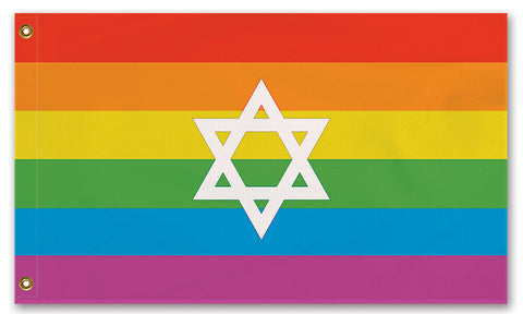 Domestic Platypus-JEWISH LGBTQ PRIDE FLAG Intersectional Gay Lesbian LGBT LGBTQIA LGBTQX-Flag-[meta description]