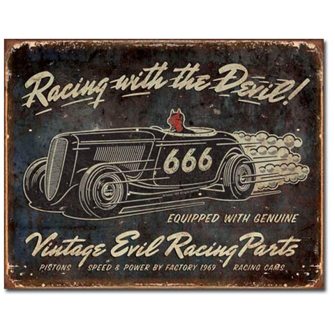 Vintage Evil Racing with the Devil Tin Sign - Domestic Platypus