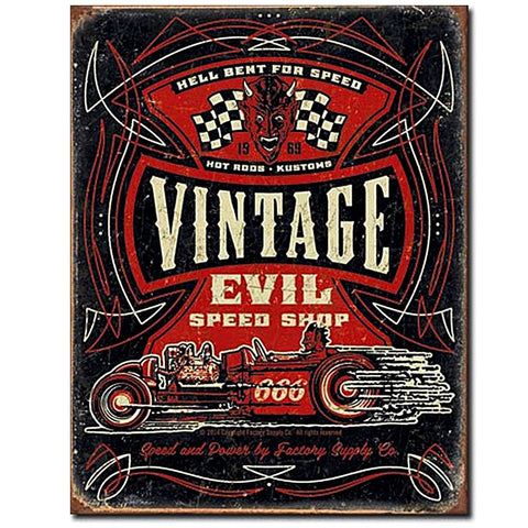 Vintage Evil Hotrods Hellbent for Speed Tin Sign - Domestic Platypus
