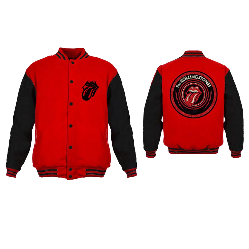 Rolling Stones Red and Black Varsity Jacket