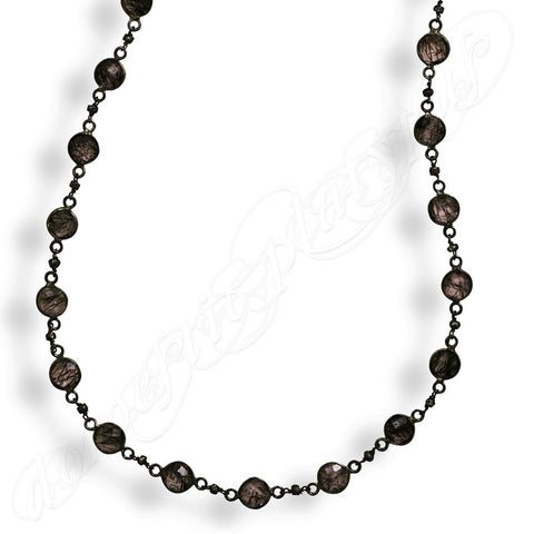 "Wildfire DUSK DANCER Black Rhodium Plated Sterling Silver & Rutilated Quartz Necklace, 28"" - Domestic Platypus"